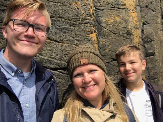Half of our crew enjoying the Isle of Staffa.